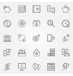 Money saving icons set vector image