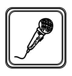 monochrome contour with microphone hand drawn vector image