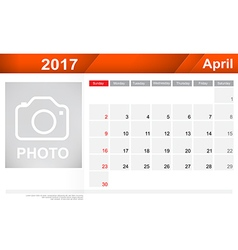 Year 2017 April month simple and clear design vector image