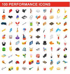 100 performance icons set vector image