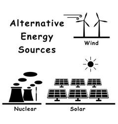 1337 alternative energy sources wind solar nuclear vector image