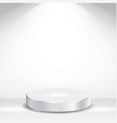 3d empty podium round empty white podium vector image