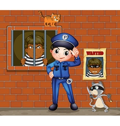 A policeman in front a jail with two cats vector