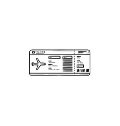 airplane ticket hand drawn outline doodle icon vector image