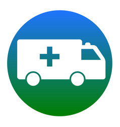 ambulance sign white icon in vector image