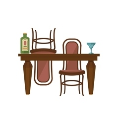 Antique Wooden Dining Table And Chairs vector