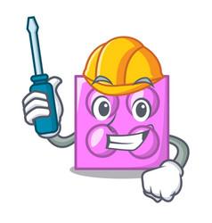Automotive toy brick mascot cartoon vector