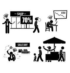Bad poor business day stick figure pictogram vector