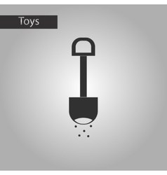 Black and white style toy shovel sand vector