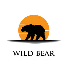 black bear silhouette logo with sunset background vector image
