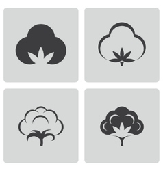Black cotton icons set vector