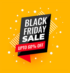 black friday sale banner in yellow background vector image