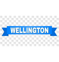 Blue ribbon with wellington title vector