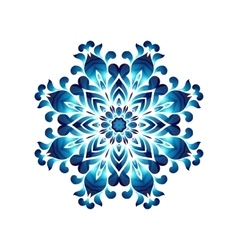 Blue ukrainian painting style Petrikovka round vector
