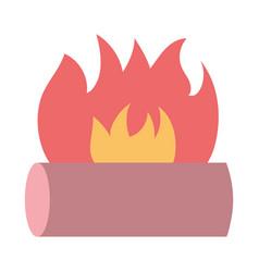 bonfire wooden flame hot icon vector image