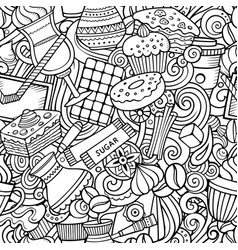 cartoon cute doodles hand drawn coffee shop vector image