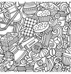 Cartoon cute doodles hand drawn coffee shop vector