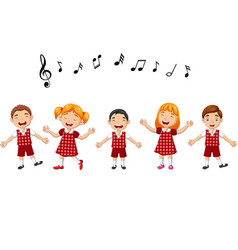 cartoon group children singing in school vector image