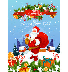 christmas and new year greeting card with santa vector image