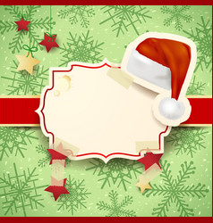 christmas with label and christmas hat vector image
