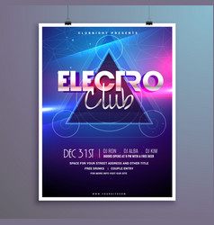 club music party flyer invitation card with shiny vector image