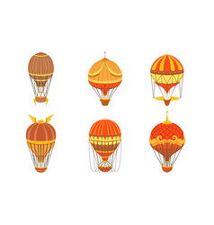 collection vintage hot air balloons retro air vector image