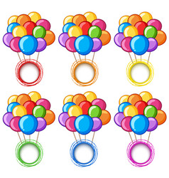 Color rings with colorful balloons vector
