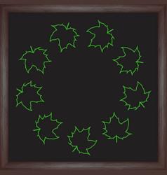 Color wreath maple leaf on chalkboard background vector