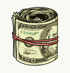 Colorful concept money roll vector