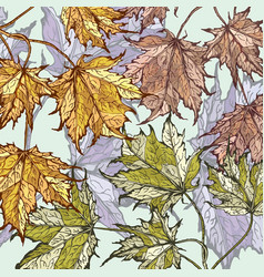 colorful maple leaves seamless pattern vector image