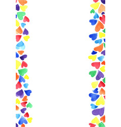 Colorful rainbow hearts background for lgbtq vector