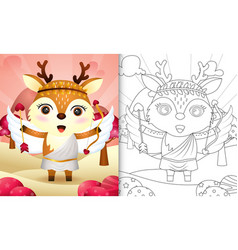 Coloring book for kids with a cute deer angel vector
