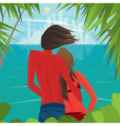 Couple on the island looking at a big city far vector image
