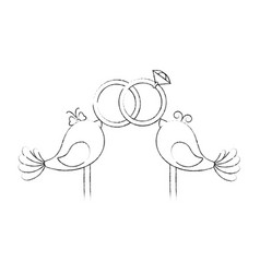 cute couple of birdies vector image