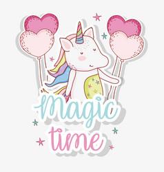 Cute unicorn trendy with heart balloons vector
