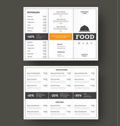 design folding menu for cafes and restaurants vector image