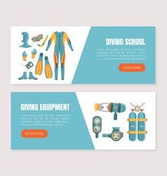 diving equipment and school landing page templates vector image