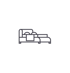 double bed line icon sign on vector image