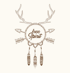 Dream catcher horns arrow feathers magic vector