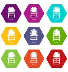 dresser icons set 9 vector image