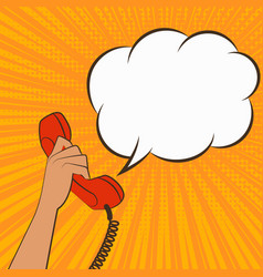 female hand with telephone handset vector image