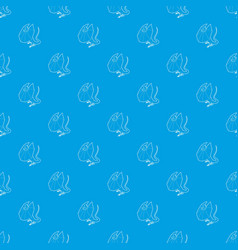 Frill necked lizard pattern seamless blue vector