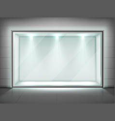 Glass wall frame transparent showcase with light vector