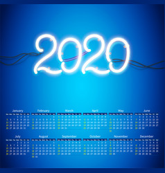 glowing neon sign 2020 with wires tubes and vector image