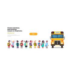 Group pupils children go in yellow school bus vector