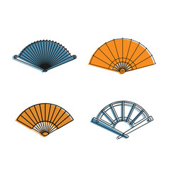 hand fan icon set color outline style vector image