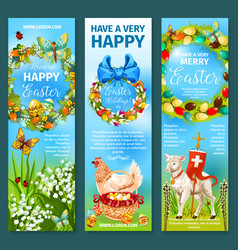 happy easter greetings banner template set design vector image