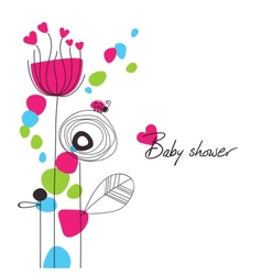 Happy floral baby shower vector