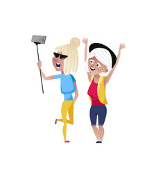 Happy mature women doing selfie character vector