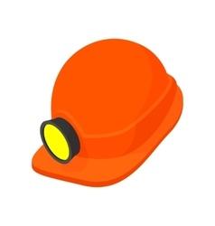 Helmet with a flashlight cartoon icon vector